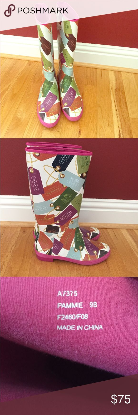 Coach Rain Boots These size 9 Coach rain boots will have you wanting to splish and splash in puddles when it rains outside! Coach Shoes Winter & Rain Boots