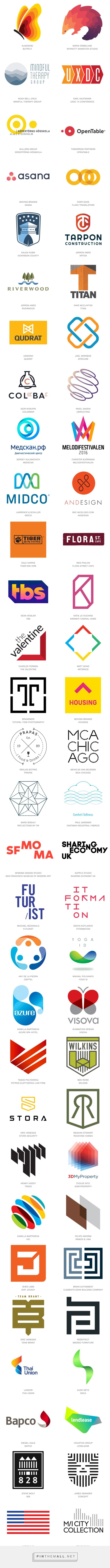 2016 Logo Trends | LogoLounge: Ombré, Circles, Half and Half, Linked, Stimming, Dog Eared, Corners, Line Dash, Off Shift, Curls, Pocket Shield, Slices, Letter Block, Benders, Bars
