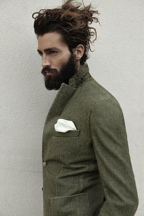 Long curly men's hair and beard