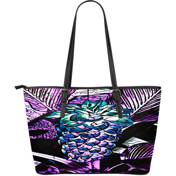 Bloomin' Purple Pineapple Leather Tote Bag
