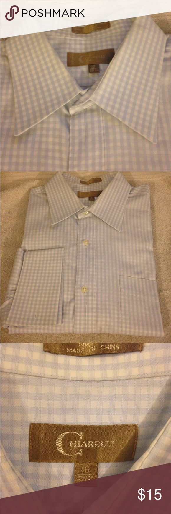 Chiarelli Blue & White Gingham French Cuff Shirt Chiarelli Blue and White Gingham French Cuff Dress Shirt size 16 32/33! Great condition! Please make reasonable offers and bundle! Ask questions! :) Chiarelli Shirts Dress Shirts