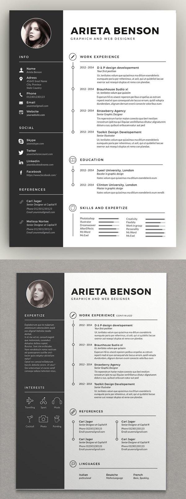Resume Templates Clean Design Design Graphic Design Junction Resume Design Template Graphic Design Resume Creative Resume Templates