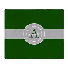 Dark Green Gray Monogram Personalized Throw Blanket #ad