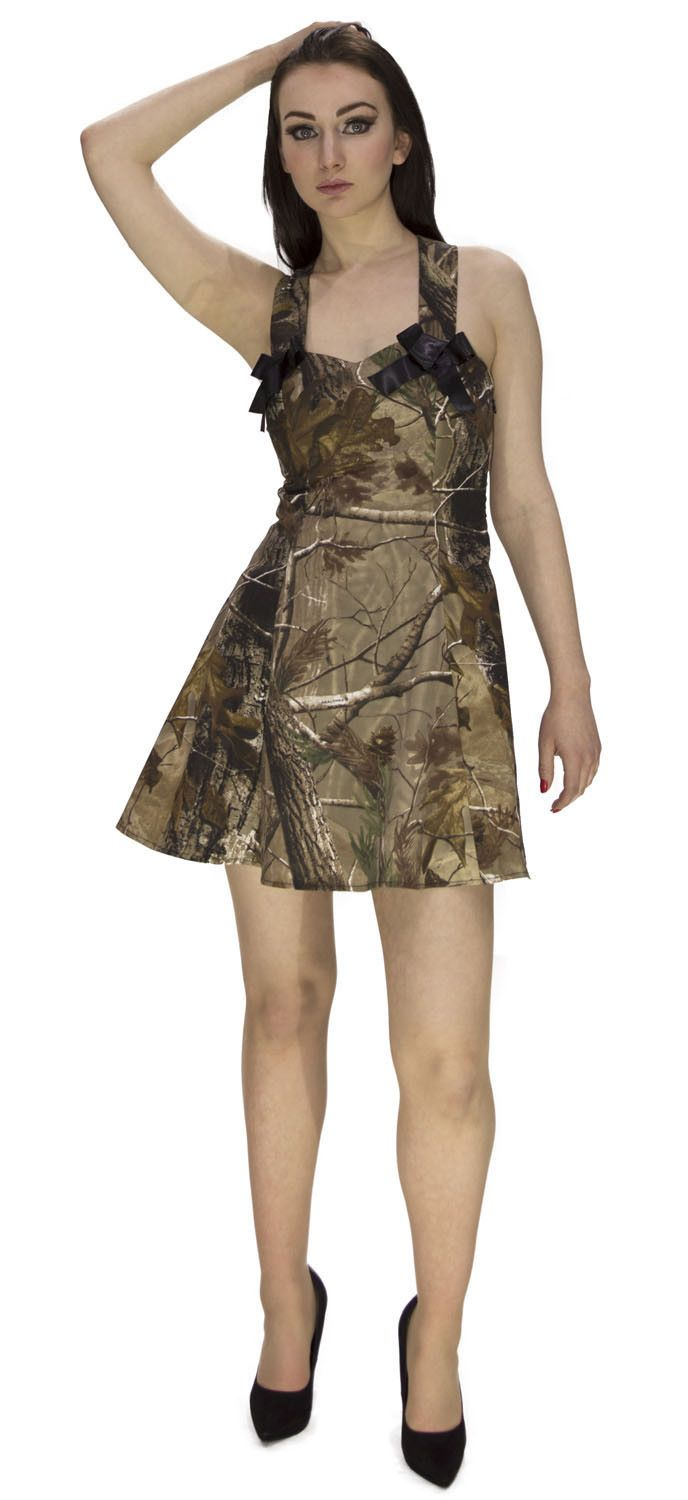 Camo Nature Short Dress HIGH DEFINITION REAL TREE Camouflage dressfor the jungle out there. Take on the world in this fierce CAMO dress. Works just about everywhere a hunter needs to hide. Superior Modern Cave Girl / Woman Tarzan Dress. Camo is neutral, open contrasty and realistic. Everything a hunting camo needs to be versatile and effective. Plus, we have improved our already advanced High DefinItion printing process so the pattern also stands up to the real-life effects of nature…
