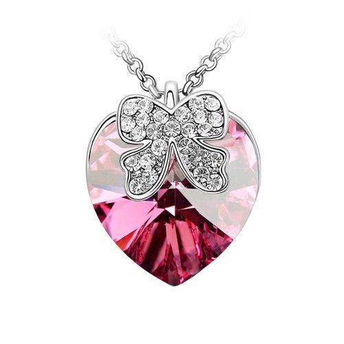 Rózsaszín kristályos szív masnival nyaklánc I FeminaShop.hu
