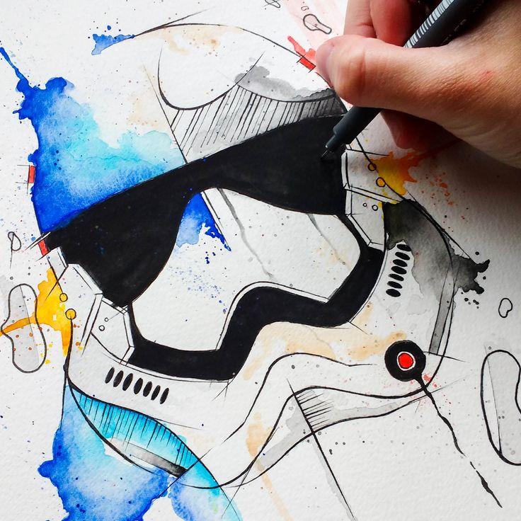 Watercolor Star Wars. @anacbeier - Facebook/anacristibeierilustrações.com