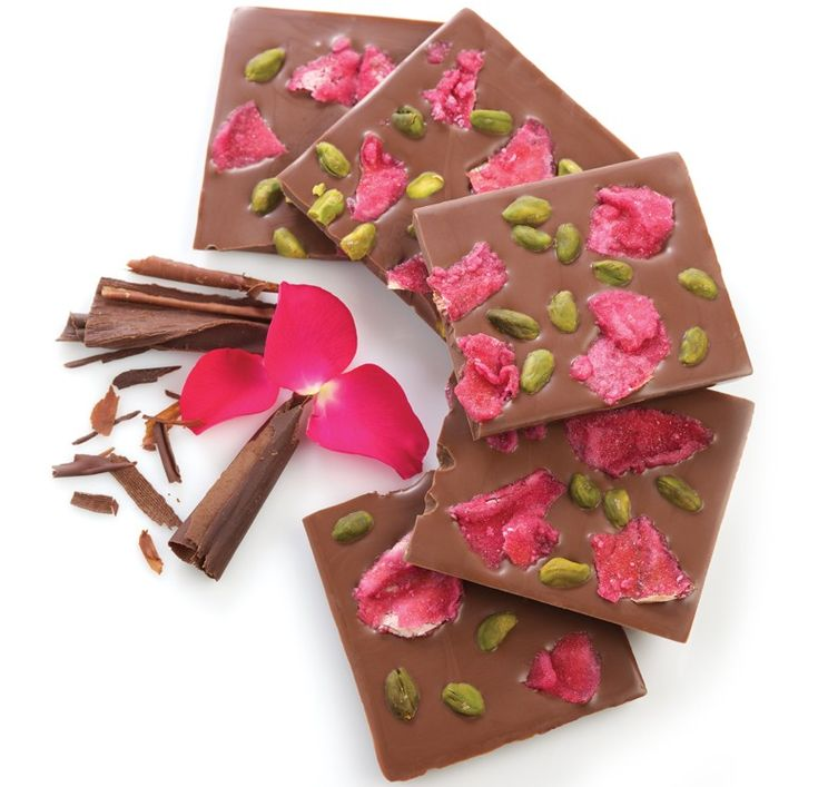 sicilian pistachio & rose petal chocolate bars