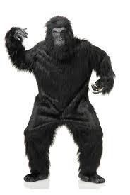 The Great Ape Gorilla Mascot Costume - Looking to scare a few friends? Or it could be fun to dress up as the King Kong. This Gorilla suit could be the perfect fit.  The Gorilla suit is a one piece shaggy black fur suit that velcros closed in the back. There is a pair of faux fur gorilla gloves with latex fingers and beige palms. The feet are faux fur as well with  a latex base.  #gorilla #animals #yyc #calgary #costume #mens