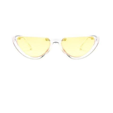 4c40947a21 Sunglasses Cool sunglasses Trendy Half Frame Rimless Cat s Eye Sunglass  Women 2018 Fashion Clear Brand Designer Sun glasses