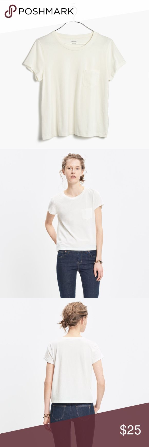 NWT Madewell Radio Tee A boyish take on the fitted tee with a just-right retro feel. Super soft. Pima cotton. Machine wash. Color is off white. Madewell Tops Tees - Short Sleeve