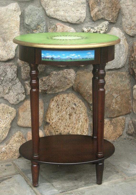 Kiwi Landscape Table by JaneSuzanne on Etsy, $280.00