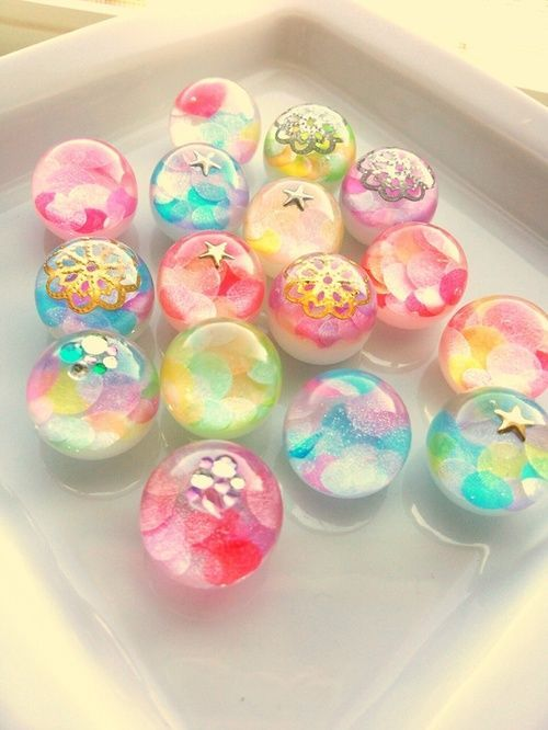 Colorful resin marbles.  They remind me of the bubbles and sparkles of the Fantasia Parade in Fairy Tail. XD