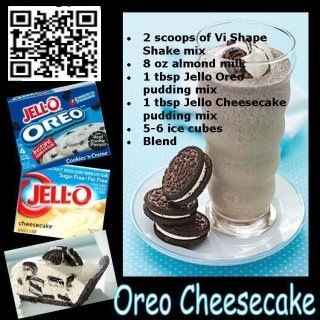Oreo Cheesecake......I would leave out the vi shape shake mix and use regular milk instead of almond milk.
