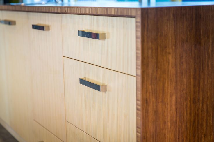 The unique grain in bamboo makes it a great option for kitchen cabinetry.