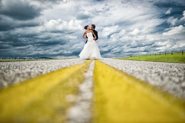 We love the symbolism in this photo — marriage is just the beginning of the road of your lives together.