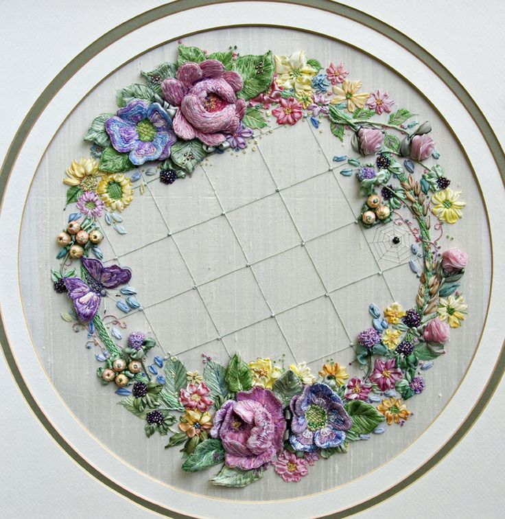 Crazy devoted to needlework.  Some can be adapted for use on crazy quilt.  Focus on ribbon leaves and flowers.  (Summer Garland A3 (Large) embroidery panel | Di van Niekerk)