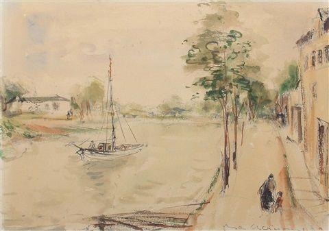 Segelboot auf einem Fluss von Max Schwimmer