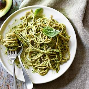 Avocados add a silky consistency and cheese-like richness to this dairy-free pesto recipe.
