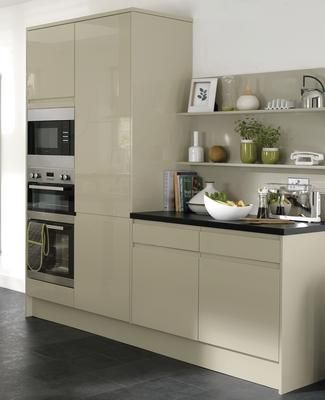Gloss flint grey integrated handle kitchen range kitchen for White high gloss kitchen wall units