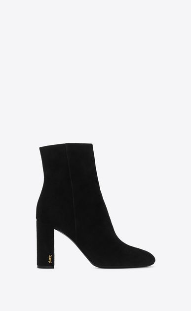 341b5e0f0c4 SAINT LAURENT Loulou Woman LOULOU 95 Zipped Ankle Boot in Black Suede a V4