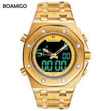 SALE US $40.73 -  BOAMIGO brand men multifunction sport watch analog digital quartz wrist watch gold stainless steel gift clock Relogio Masculino