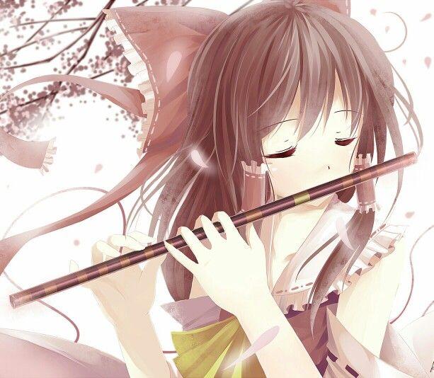 anime girl brown hair music flute wind cute