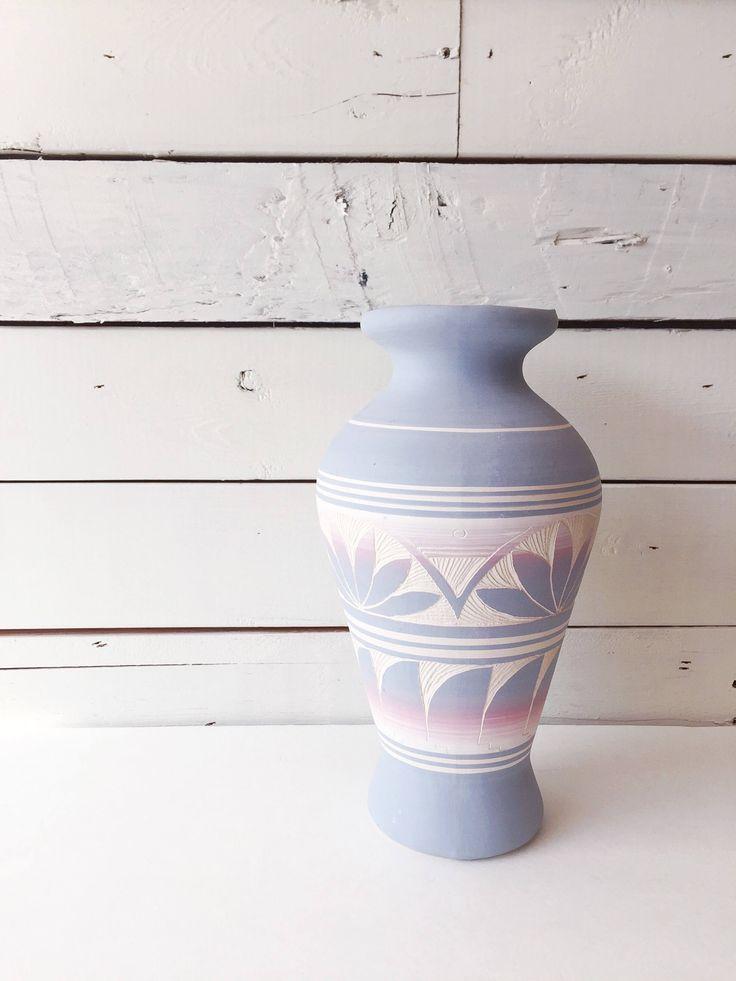 Southwestern Vase | bohemian vase | aztec | blue vase | ombre by LeroyBrownFurnishing on Etsy https://www.etsy.com/ca/listing/545868459/southwestern-vase-bohemian-vase-aztec