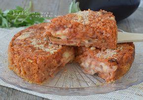 TORTA DI RISO con melanzane alla pizzaiola, ricetta a base di riso gustosa e facile da preparare, sostanziosa e filante, ricetta con riso e melanzane