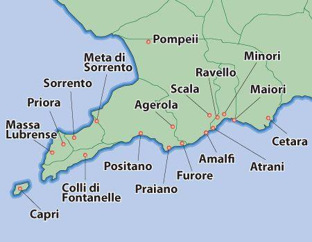 amalfi coast map | Amalfi Villas, Amalfi Coast Holiday Apartments - Authentic Italy.