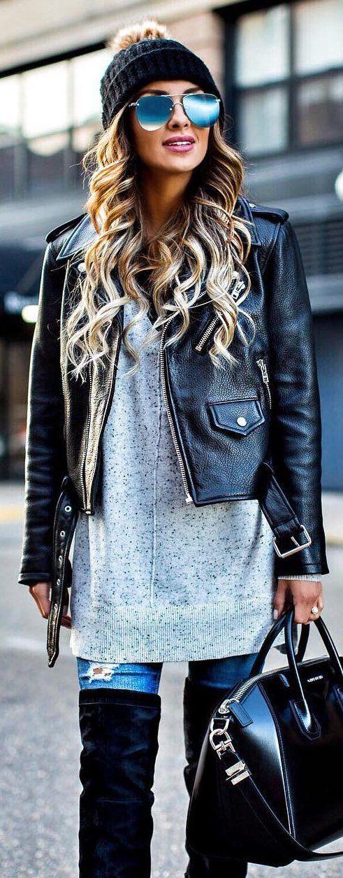 #winter #fashion / Black Beanie / Black Leather Jacket / Grey Knit Dress / Ripped Skinny Jeans / Black Leather Tote Bag / Black OTK Boots