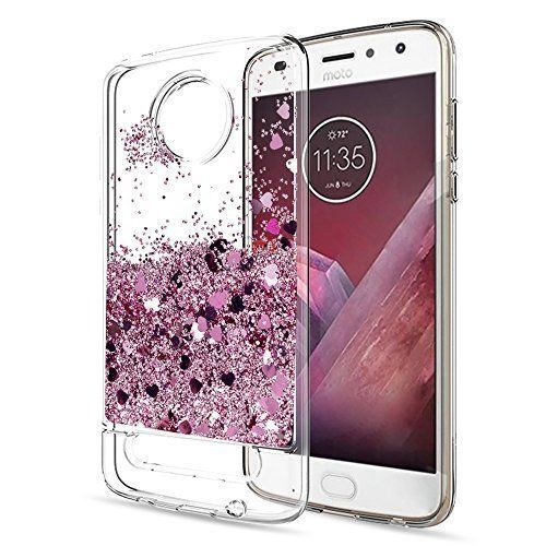 Moto Z2 Play Case With Screen Protector Glitter TPU Protective Phone Cover Clear #MotoZ2PlayCase