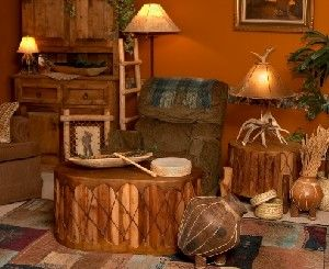 I love the drum style coffee table native american for Native american interior design