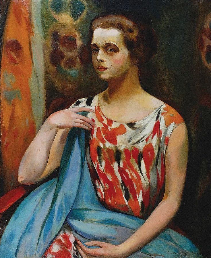 Eugeniusz GEPPERT (1890-1979)  Portret kobiety, 1923 olej, płótno, 73,5 x 60 cm; sygn. p. d.: Eugeniusz Geppert Paris 1923