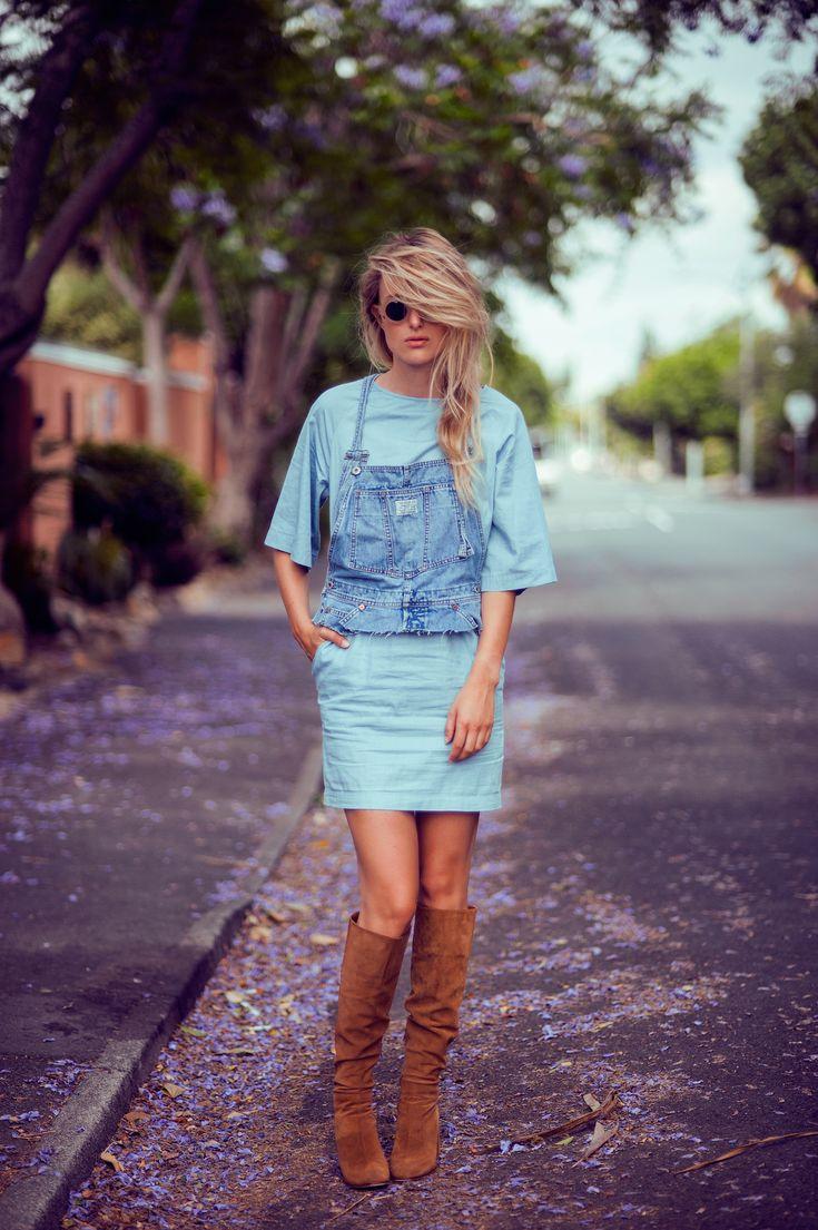 denim crop top with a dress