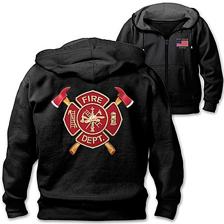 Firefighter Pride Men's Black Hoodie Jacket With Maltese Cross