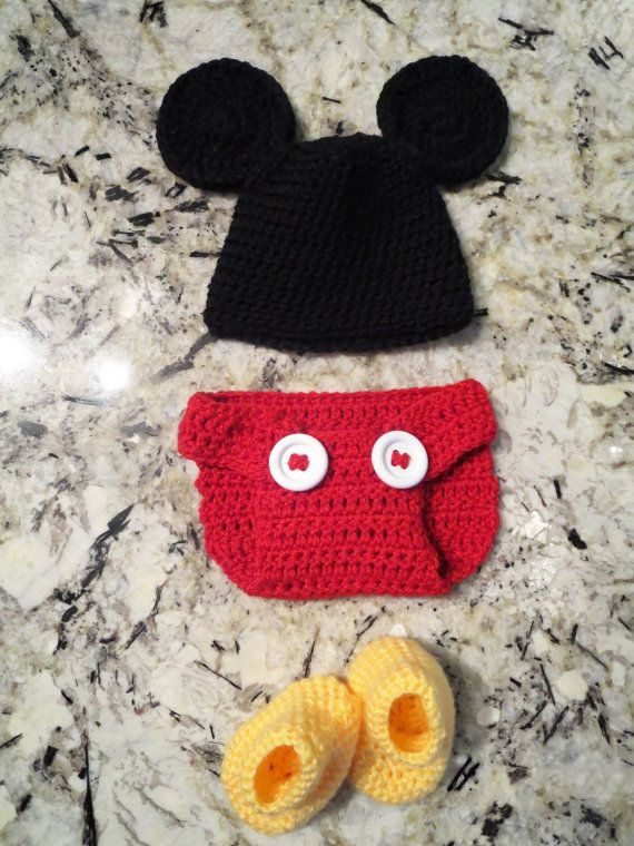 Crocheted Mickey Mouse outfit for newborn photo shoots!!  What a cute idea for a baby shower gift for any Disney lover!  Hat, diaper cover, and booties!!  https://www.etsy.com/listing/177878196/crochet-baby-mickey-mouse-three-piece?ref=related-0