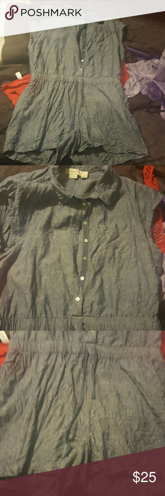Jean romper Jean romper with pockets on the side and front button down little wrinkled but only worn once fits up to size 14 Cynthia Rowley Other