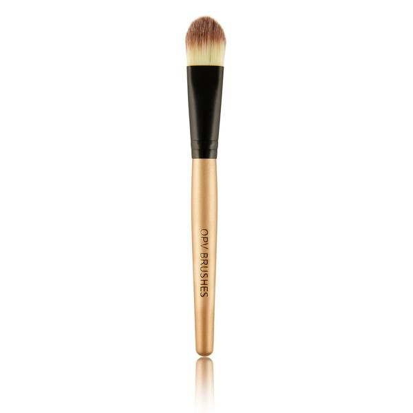 OPV Foundation Brush Works best to brush on cream or liquid products such as primer or tinted moisturizer. Handle Material: 100% high quality wood, aluminiumBrush material: nylon, wool, synthetic hairColour: Golden Brown