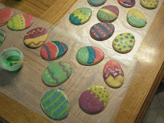 Easter cookie decorating - can use arrowroot biscuits