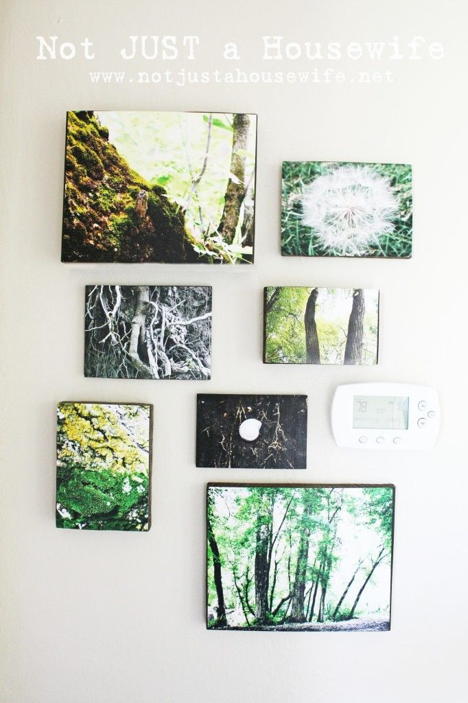 Decoupage photos onto old blocks of wood (any kind) and any thickness. Use putty to hang light ones, a pix hanger for heavier ones.