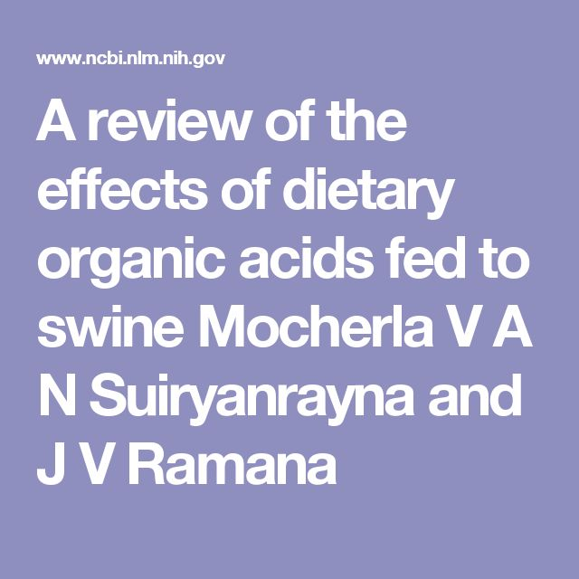 A review of the effects of dietary organic acids fed to swine Mocherla V A N Suiryanrayna and J V Ramana