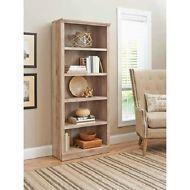 5-Shelf Bookcase Weathered Reclaimed Oak Vintage Bookshelf Home Furniture Wood