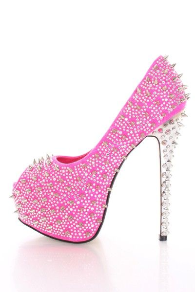 Pink rhinestones & spikes. OH MY GOD! These are the SEXIEST shoes I've ever seen. I WANT! ❤