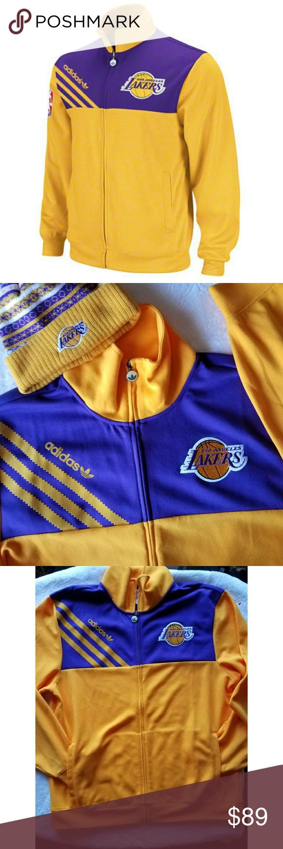 NBA Adidas Lakers Track Jacket Laker Fans This gold Adidas Lakers jacket is great for any Laker fan!   85% Polyester 15% cotton  2 front pockets, no holes In great condition, the only problem is on the right cuff there's a small stain due to handling, as shown in the last picture.  Feel free to send me any reasonable offers ☺ The jacket is new, just got stained from being handled. adidas Jackets & Coats