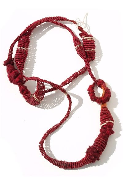 Gabriela Horvat. Necklace: Selfportraits - Cocoons, 2009. Silk, copper, chaguar, wool, hand dyed.