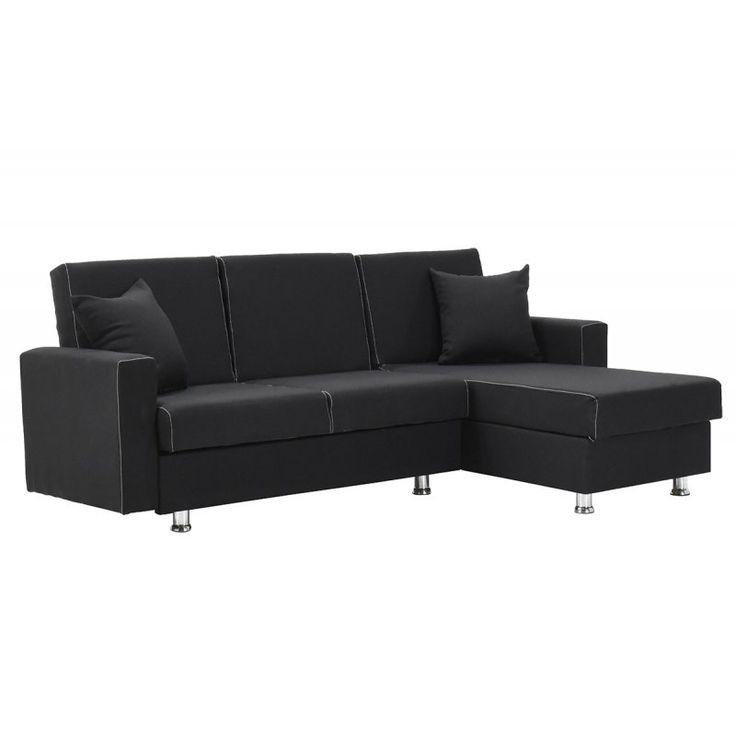 Γωνιακός καναπές BAHAR με ύφασμα μαύρο 207x135x80