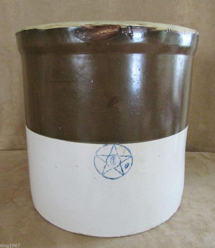 Antique Salt Glazed Stoneware Crock Brown 6 Gallon Blue Star Brown Glaze Vintage Unique Home