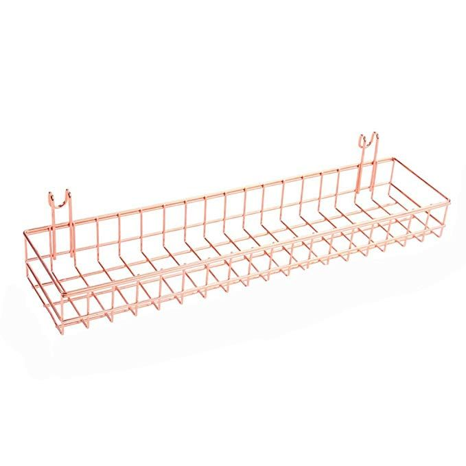 Rose Gold ANZOME Grid Basket Wire Storage Shelf Rack for Home Supplies Wall Decor Wire Wall Basket With Hooks Wall Mount Organizer for Grid Panel