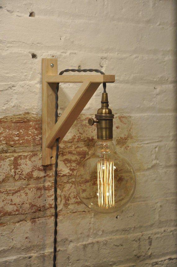 Wand Wandleuchter Messing Antik Birke Holz Lampe Industrielle Retro Vintage Solid Wood Light Lamp Light Brass Wall Light