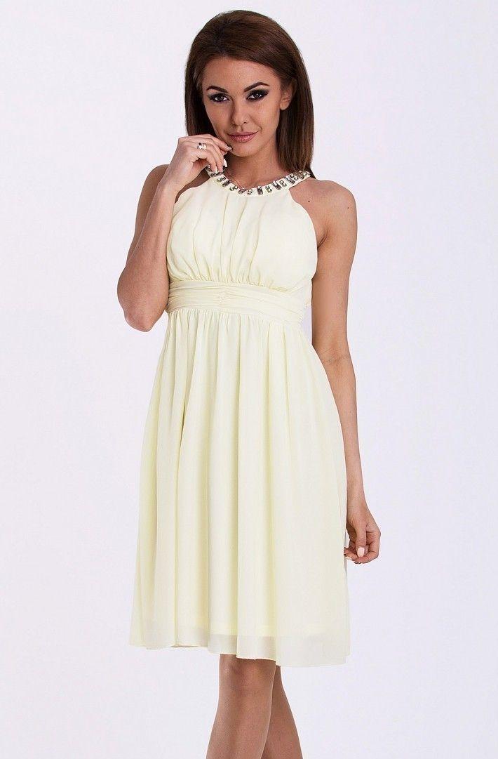 PINK BOOM SUKIENKA - CYTRYNOWY Sukienka ozdobiona kamieniami #modadamska #sukienkiletnie #sukienka #suknia #sklepinternetowy #allettante